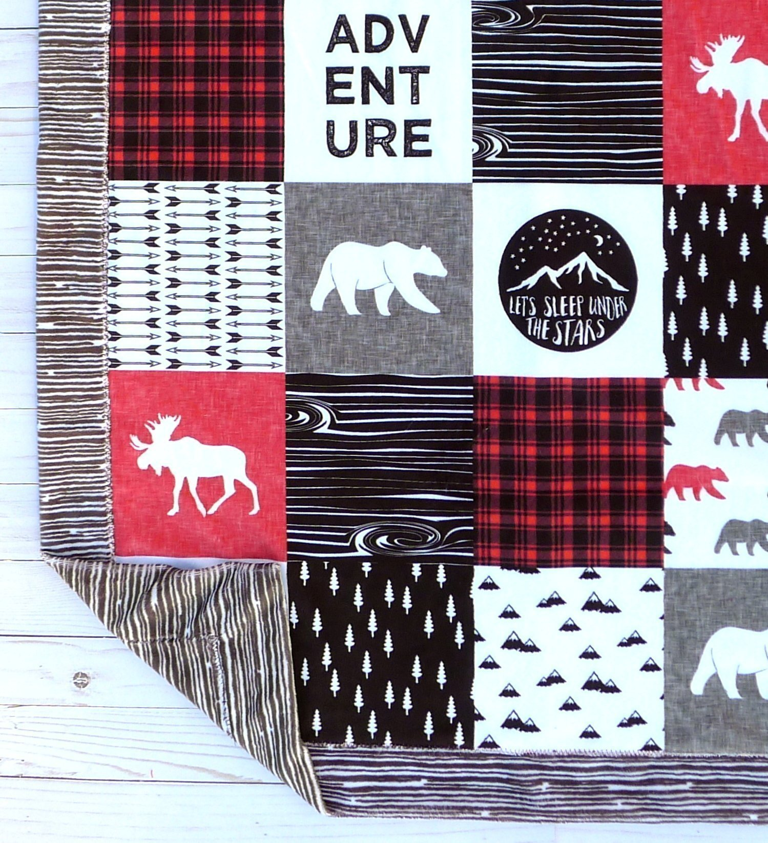 Bear Baby Blanket - Minky Baby Blanket - Moose Baby Blanket - Black White Red - Woodland Blanket -Baby Blanket - Nursery Decor - Crib Bedding - Faux Patchwork