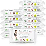 Eco by Naty Thick Baby Wipes for Sensitive Skin, Unscented, Hypoallergenic, Biodegradable and Compostable, 12 Packs of 56 (672 Wipes)