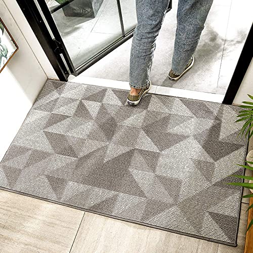 CHICHIC Indoor Doormat Welcome Mat Front Back Door Mat Floor Mat Non Slip Water Resistant Carpet Entrance Entry Way Inside Rug Outdoor Rugs Machine Washable Low-Profile, 32 x 48 Inch Pattern B Gray