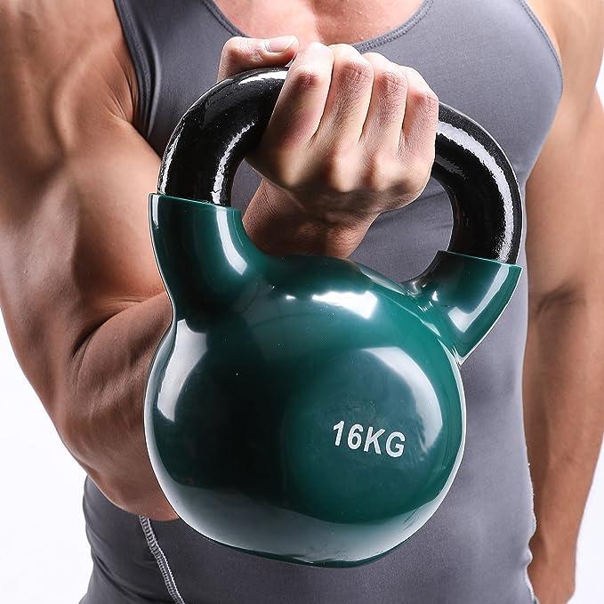 Fithalt Kettlebell Oscilante Pesas Rusas de Hierro Fundido con Revestimiento de Vinilo para el Entrenamiento de Fuerza Mancuerna para Musculación (Verde ...