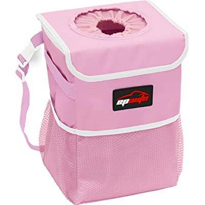 EPAuto Waterproof Car Trash Can with Lid and Storage Pockets, Pink: Automotive