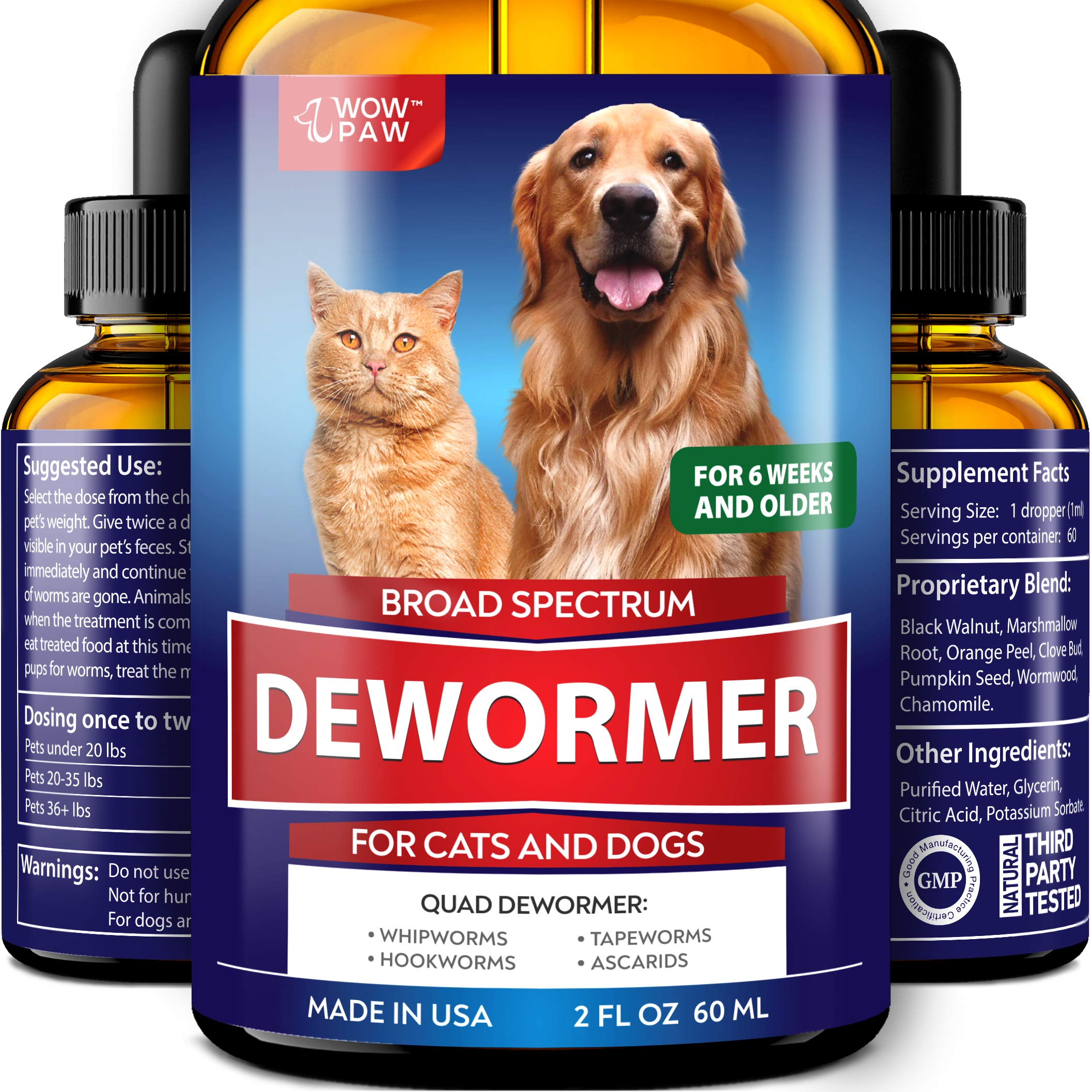 WOWPAW DEW0RMER for Dogs & Cats (2 OZ) - Made in USA - Wоrm Treatment for Pets - Natural Powerful Blend Against Whipworm, Hookwоrm, Roundwоrm & Tapewоrm - Senior Pets, Kitten & Puppy Dewоrmer by Wow Paw