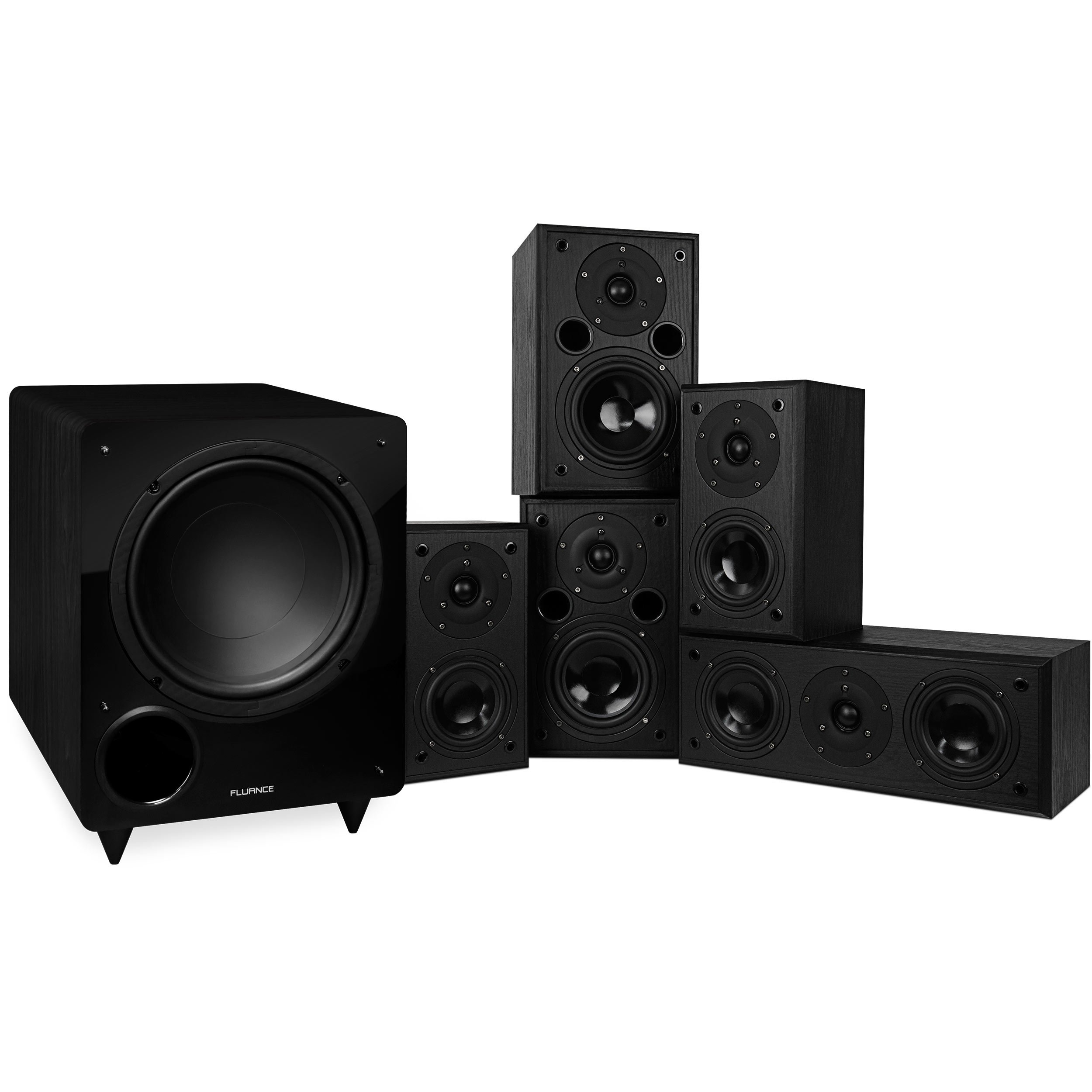 Fluance Classic Series Surround Sound Home Theater 5.1 Channel Speaker System including Two-way Bookshelf, Center, Rear Speakers, and DB10 Subwoofer – Black Ash (AV51BC)