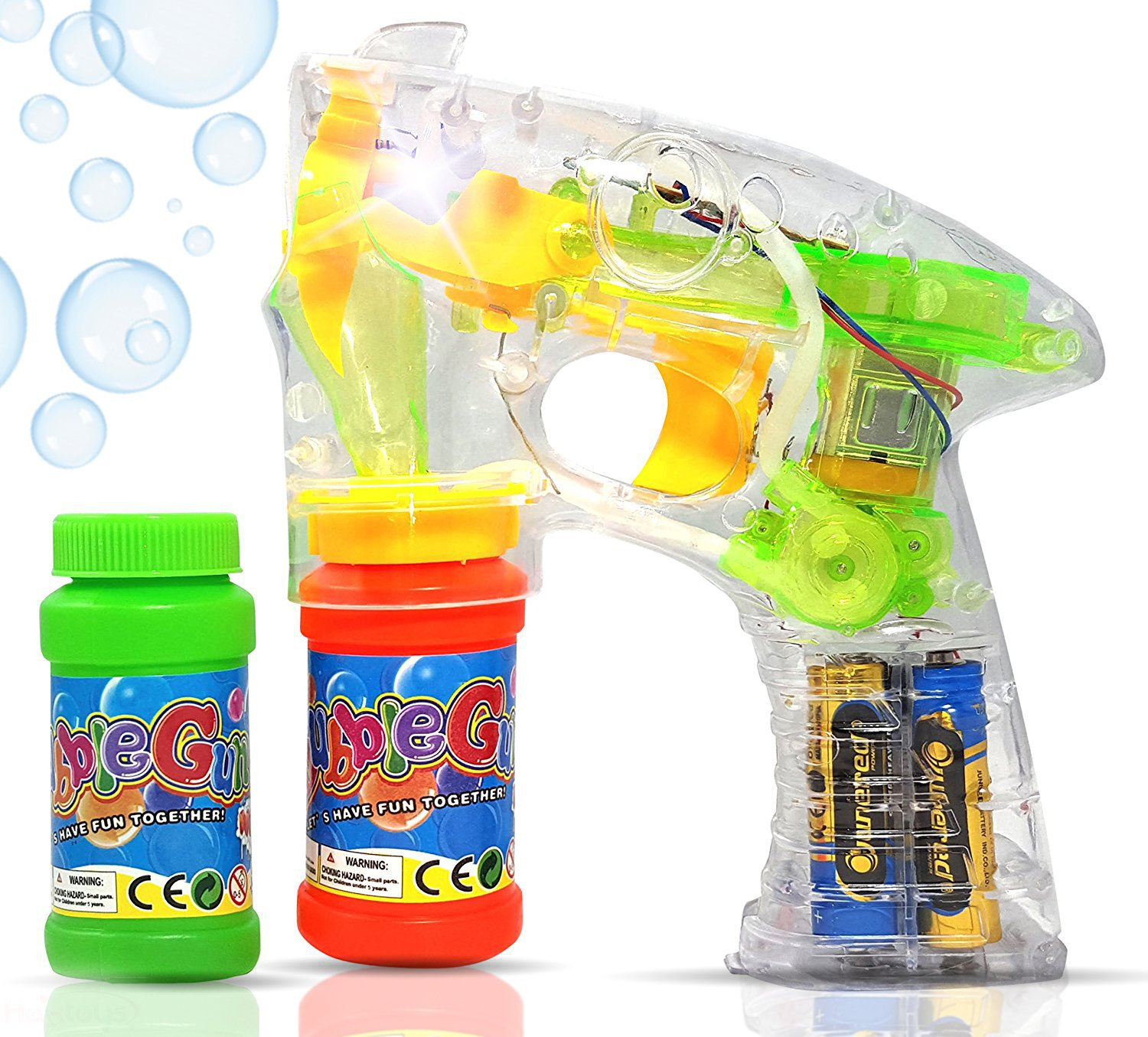 Haktoys Regular Transparent Bubble Gun Shooter Light Up Blower Machine | Bubble Blaster for Kids Parties Etc. with LED Flashing Lights Extra Refill Bottle Sound Free Batteries Included