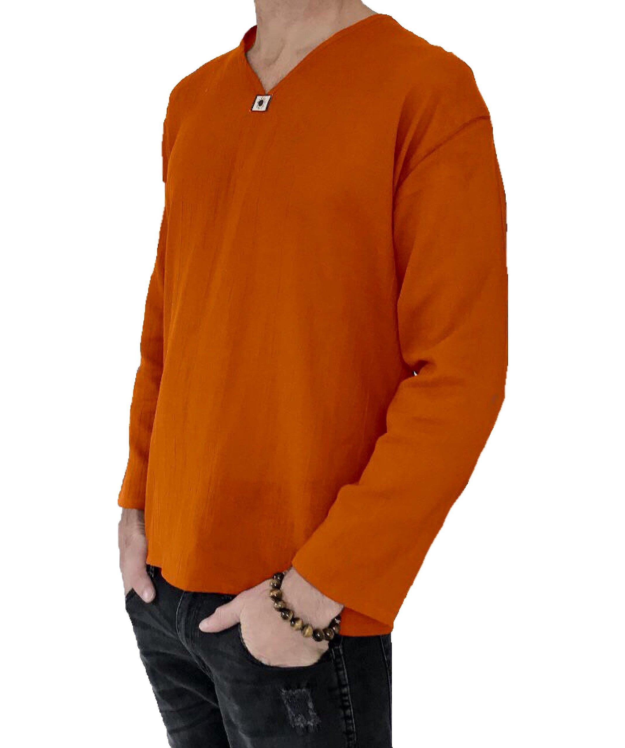 Love Quality Men's Summer T-Shirt 100% Cotton Hippie Shirt V-Neck Beach Yoga Top (XXXXX-Large, Orange)