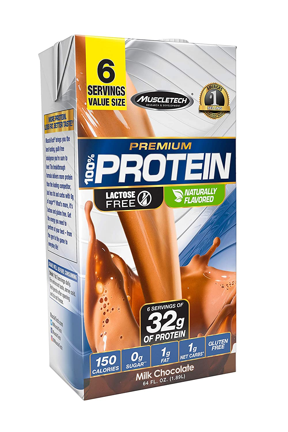 MuscleTech High Protein Shake, 32g Protein, Ready to Drink, Lactose Free  Protein, No Sugar, Low Carbs,