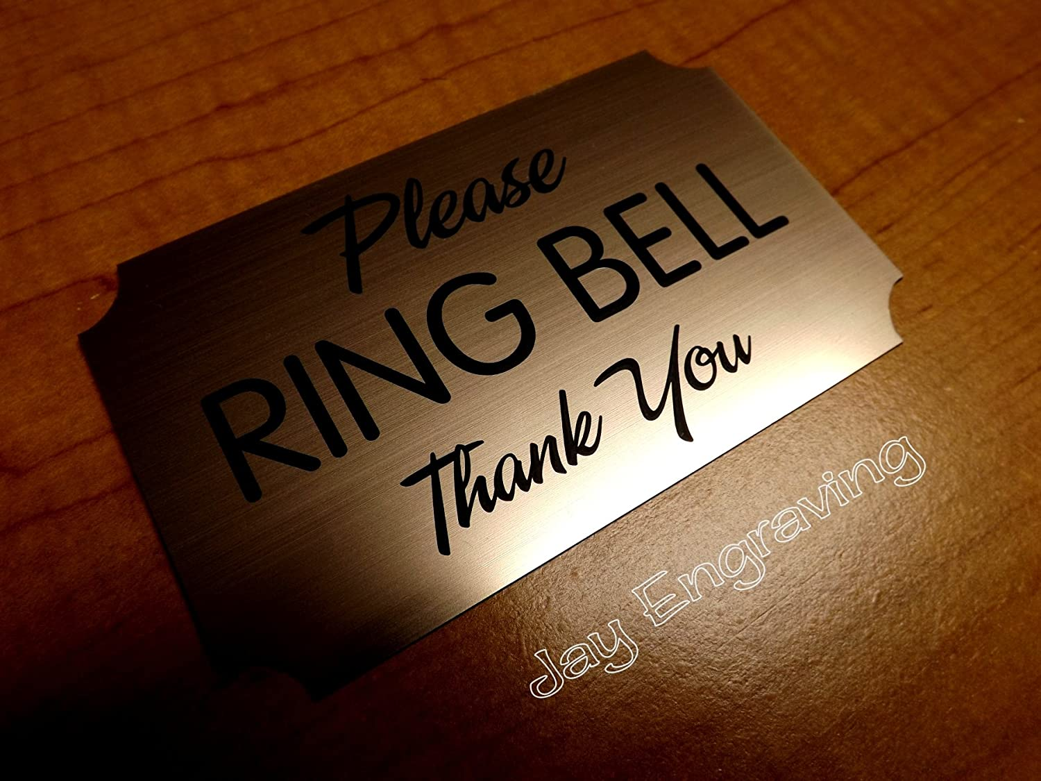 Engraved ~ Please Ring Bell ~ 3x5 Brushed Metal Finish Sign | Receptionist Office Door Desk Name Plate | Wall Plaque Business Home Office Decor Elegant Custom Engraving Adhesive Back (Brushed Silver) JAY Graphics