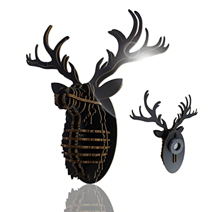 Tenonart Nordic Deer Head DIY Collection 3D Cardboard Puzzle Wall Decor Magnet Hanging Decorations
