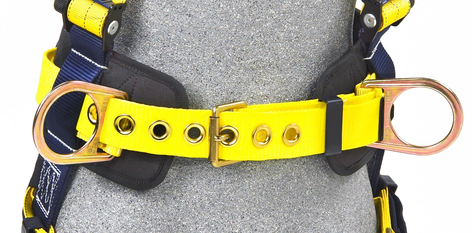 3M DBI-SALA Delta 1101654 Construction Harness, Back/Side D-Rings, Belt w/Sewn-In Back & Shoulder Pads, Tongue Buckle Leg Straps, Medium, Navy/Yellow by 3M Fall Protection Business (Image #3)