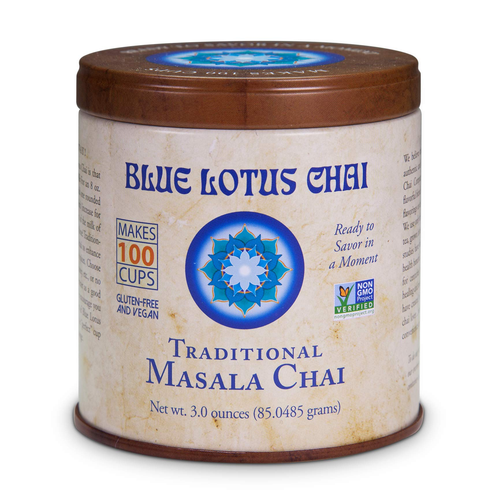 Blue Lotus Chai - Traditional Masala Chai - Makes 100 Cups - 3 Ounce Masala Spiced Chai Powder with Organic Spices - Instant Indian Tea No Steeping - No Gluten by Blue Lotus Chai
