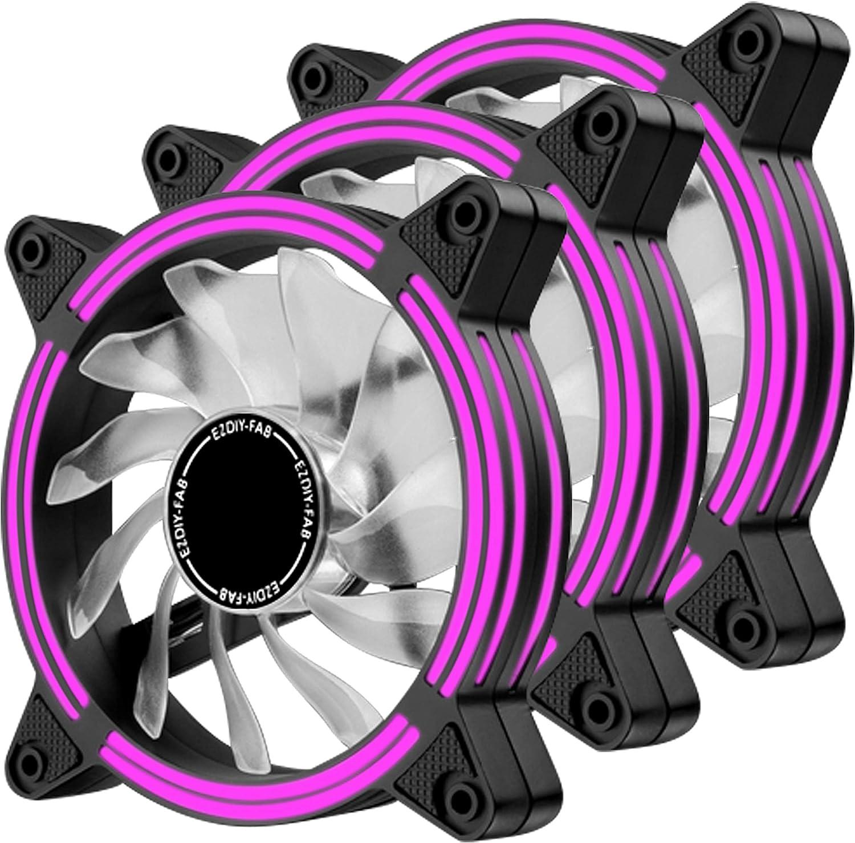 EZDIY-FAB Ventilador LED de 120 mm,Ventilador de Caja de Doble Marco LED para Cajas de PC,silencioso de Alto Flujo de Aire,enfriadores de CPU y radiadores,Púrpura 3-Pin-3-Pack