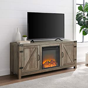 Walker Edison Georgetown Modern Farmhouse Double Barn Door Fireplace TV Stand for TVs up to 65 Inches, 58 Inch, Grey Wash