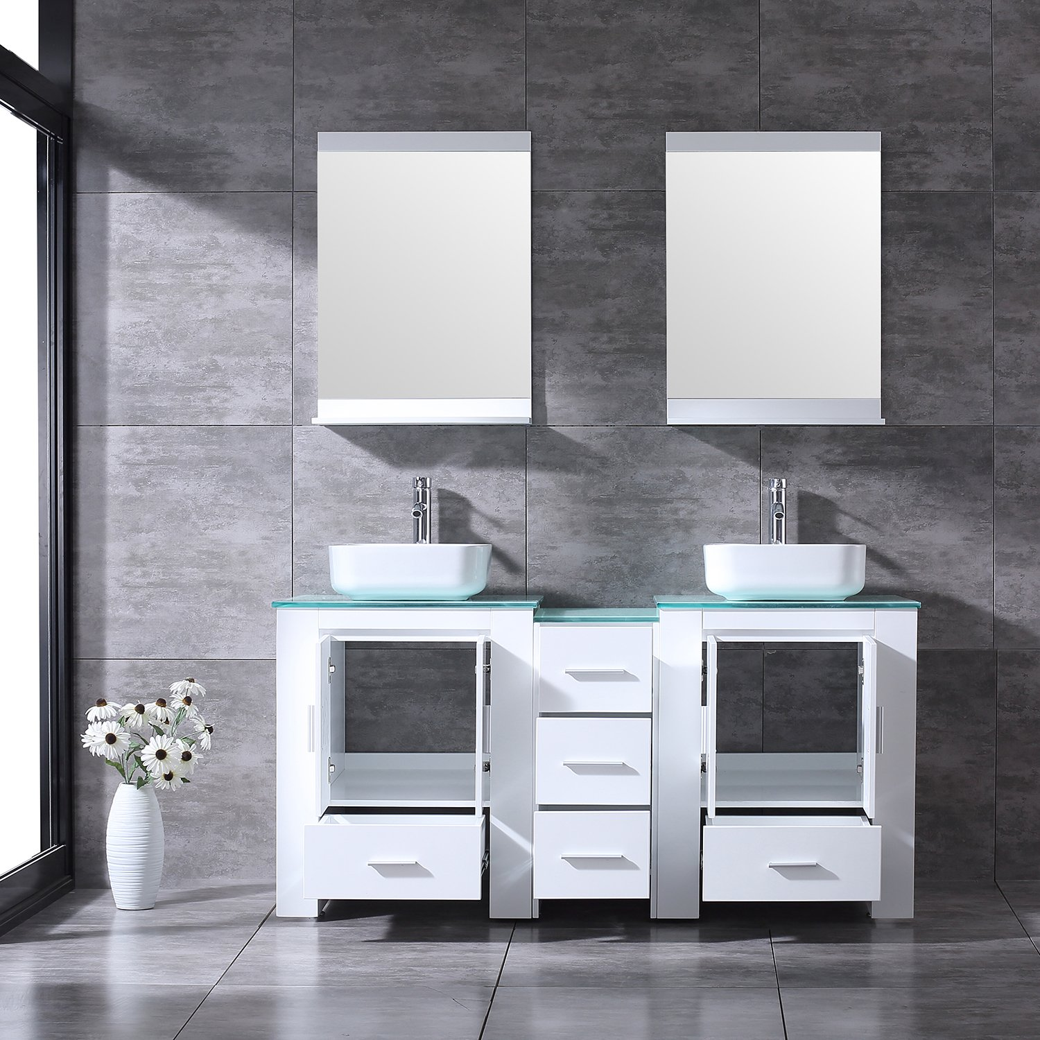 """BATHJOY Luxury 60"""" White Bathroom Double Wood Vanity Cabinet with Square Ceramic Vessel Sink and Mirrors Faucet Drain Combo by BATHJOY (Image #4)"""
