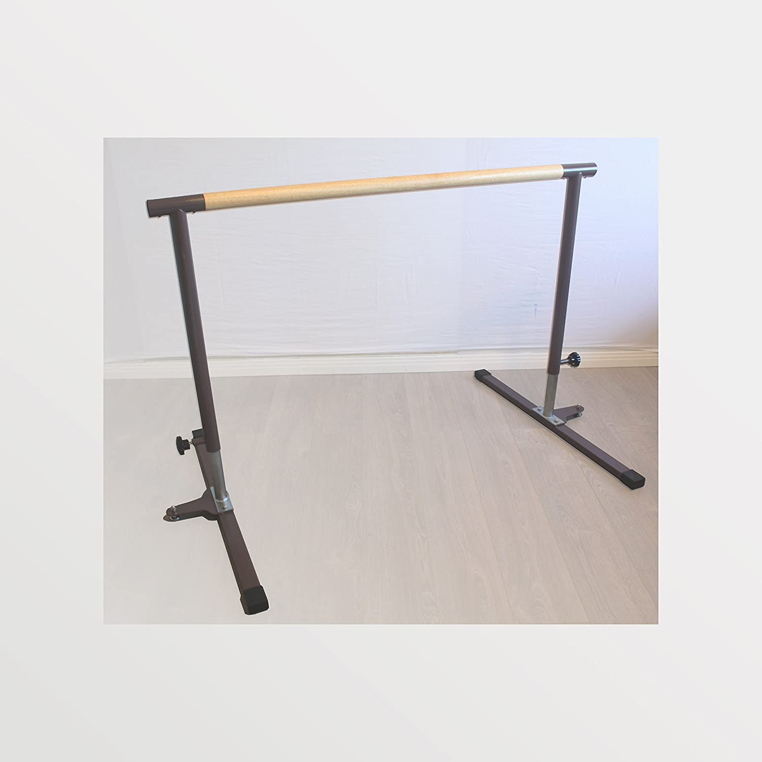 BananaBarre Ballet Barre, Pilates Barre, 4 ft x 1.5' Diameter Wood Dowel. Free Standing Adjustable Portable Height and Sturdy + a Free Bonus Elastic Stretch Band
