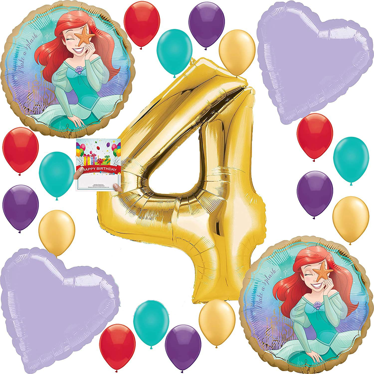 Ariel Party Supplies Princess Balloon Decoration Bundle for 4th Birthday