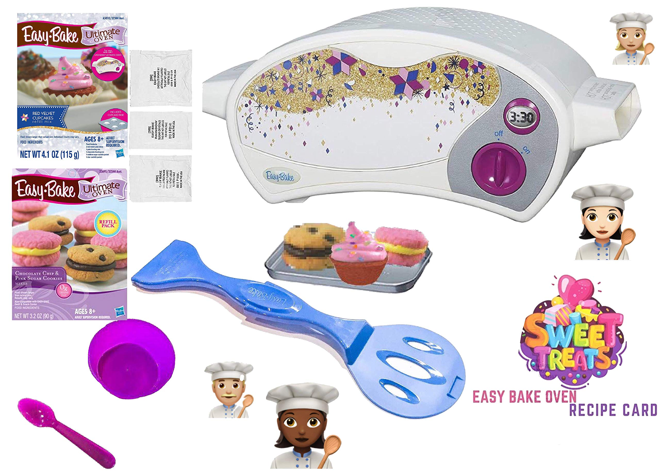 Easy Bake Ultimate Oven Baking Star Edition + 2 Oven Refill Mixes + 2 Sweet Treats Tasty Oven Recipes + Mixing Bowl AND Spoon (5 Total Items)