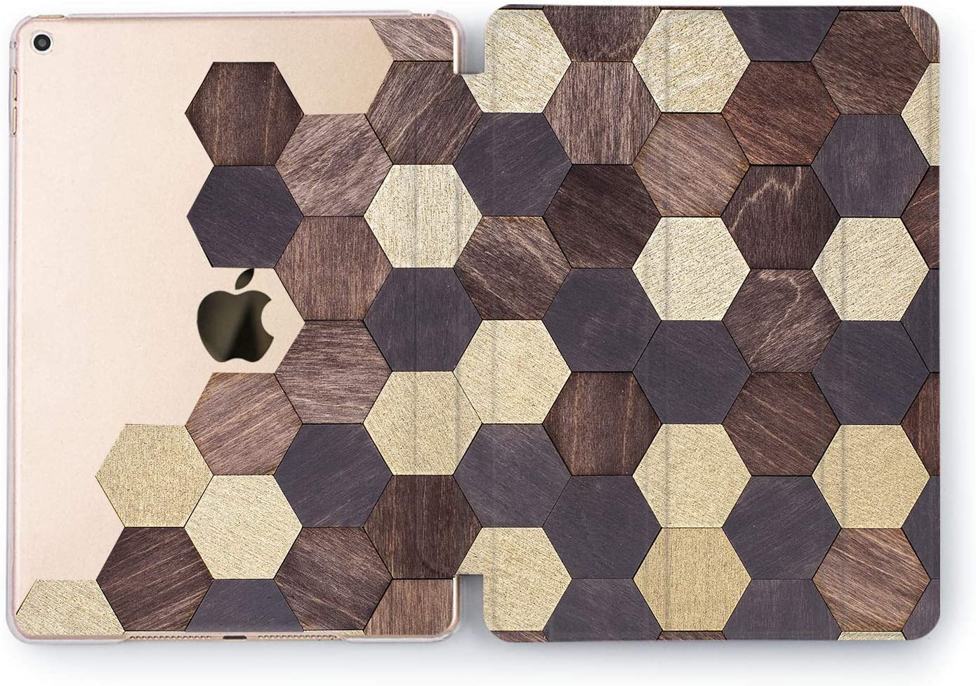 Wonder Wild Case Compatible with Apple iPad Abstract Tablet 5th 6th Gen Mini 1 2 3 4 Air 2 Pro 10.5 12.9 11 10.2 9.7 inch Cover Wood Mosaic Part Shape Hexagon Unique Plank Brown Beige Tree Real