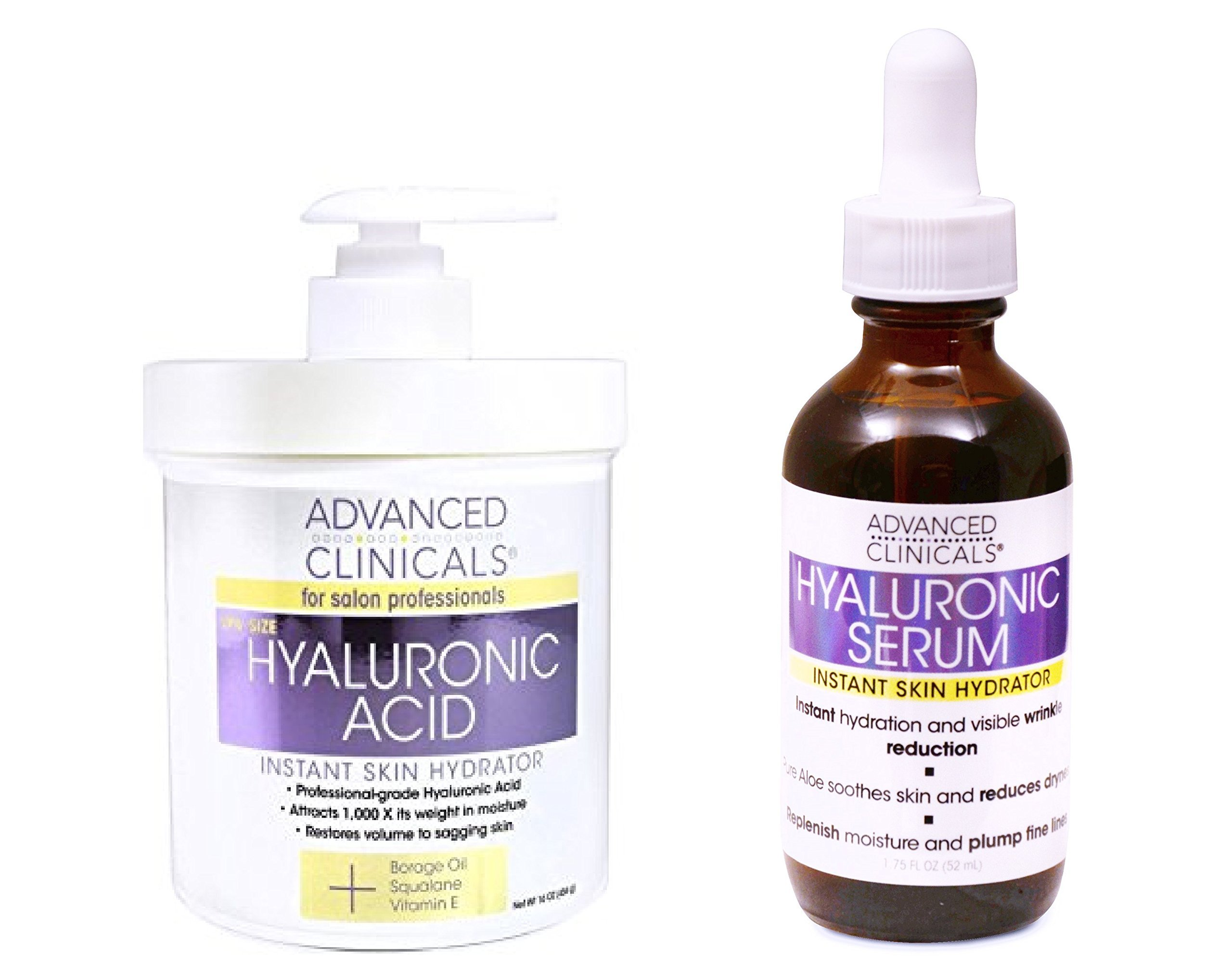 Advanced Clinicals Hyaluronic Acid Cream and Hyaluronic Acid Serum skin care set! Instant hydration for your face and body. Targets wrinkles and fine lines. Spa size 16oz cream & large 1.75oz serum. by Advanced Clinicals