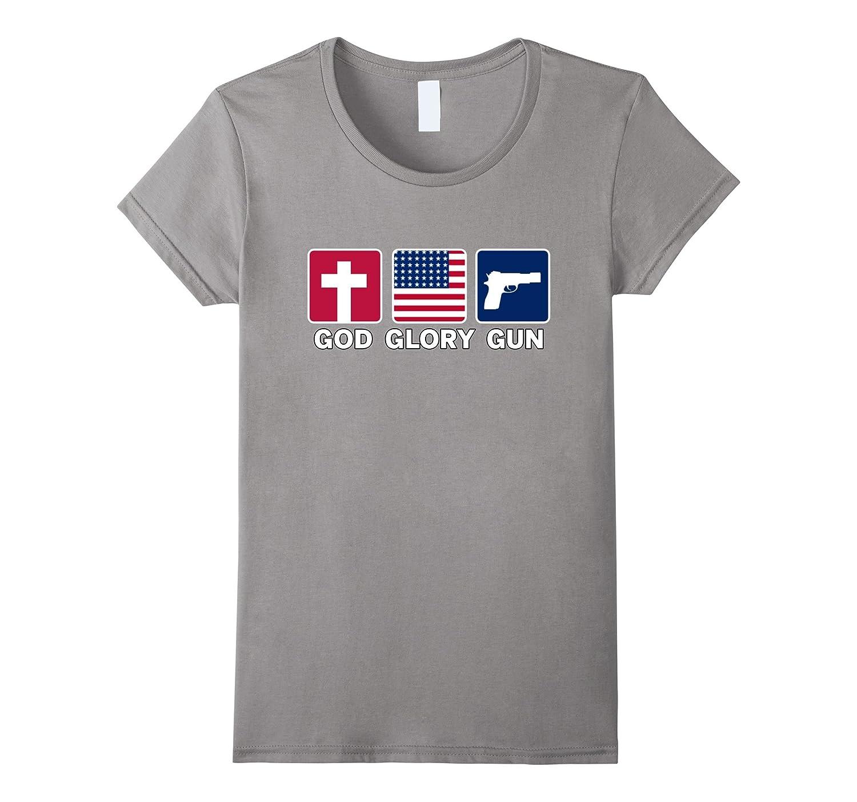 GOD GUN GLORY USA PARTIOT T SHIRT Freedom Religion USA-Teeae
