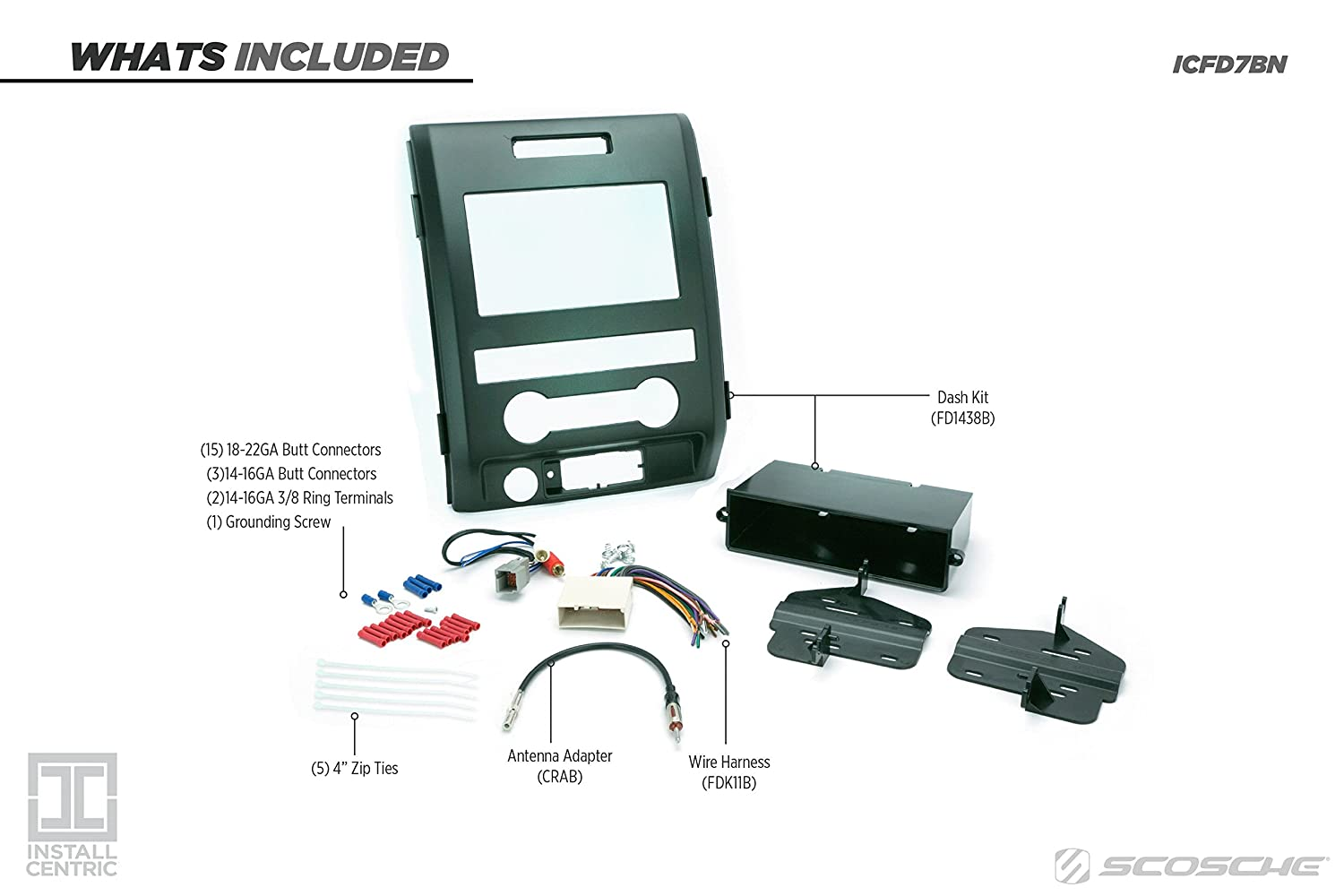 Scosche Fd1438b 2009 12 Ford F 150 Xl Double Din Or Rabs Wiring Harness Diagram W Pocket Install Dash Kit Car Electronics