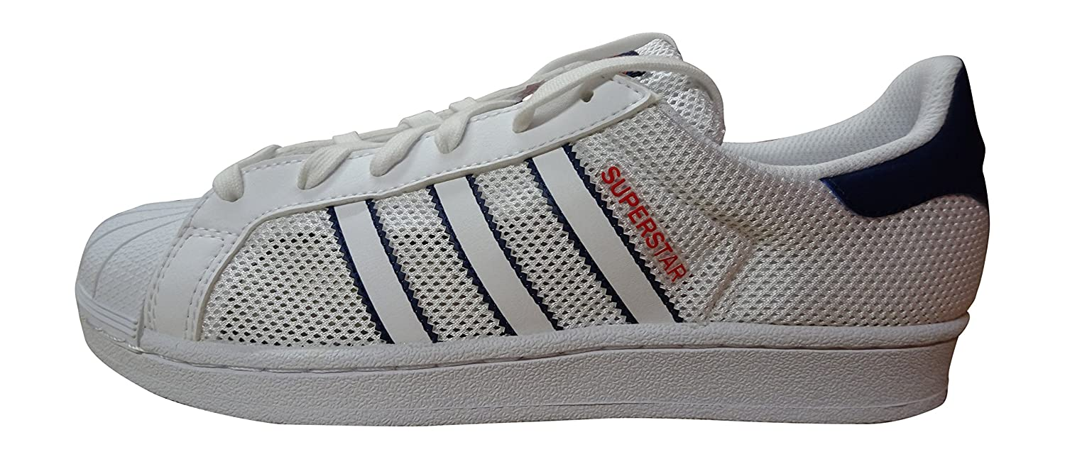 adidas Originals Herren Sneakers Superstar Ray Blue S75881 Weiss Blau Rot Bb5393