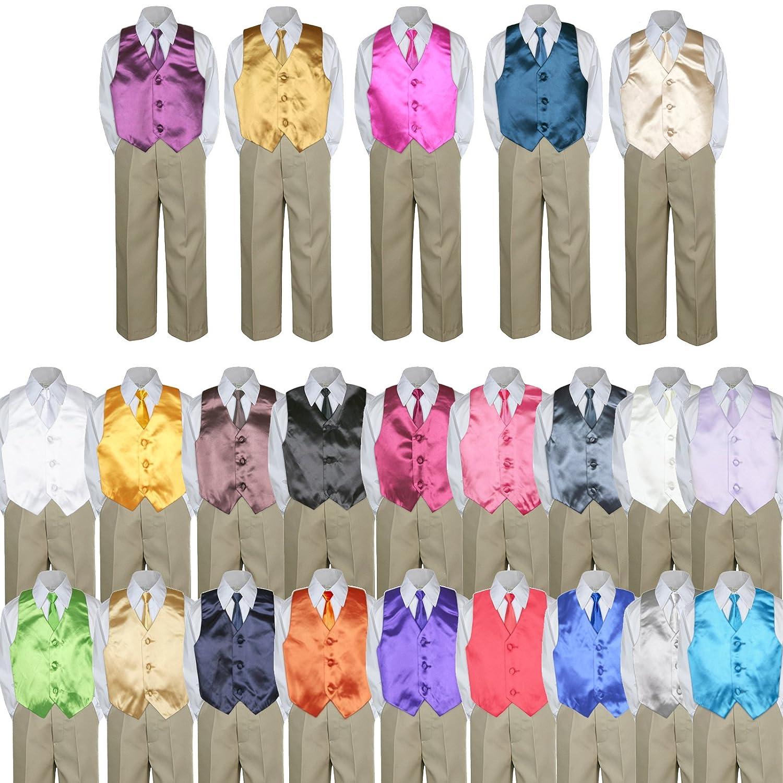 3T 4pc Formal Baby Toddler Boys Mustard Vest Necktie Khaki Pants Suit S-7