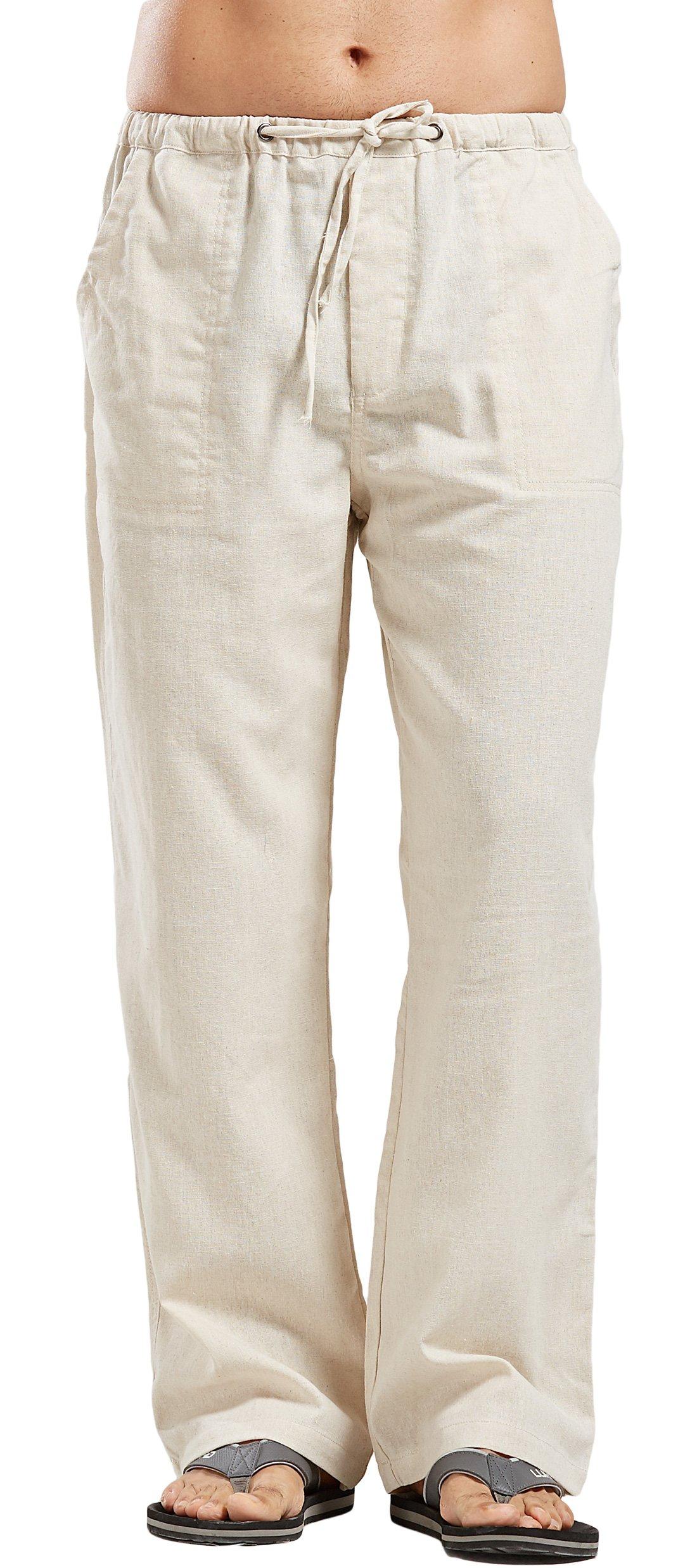utcoco Qiuse Men's Casual Loose Fit Straight-Legs Stretchy Waist Beach Pants