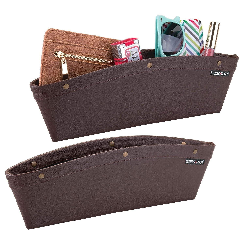 mDesign 2er-Set seitliche Autositztasche aus veganem Leder – Auto Organizer für die Autokonsole – robuste Seitentasche oder Rücksitztasche für Pkws, Lkws, SUVs oder Wohnmobile – schwarz MetroDecor