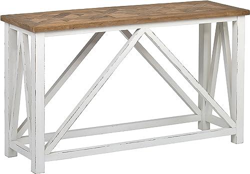Stone Beam Coastal Breeze Rustic Farmhouse Console Table, 55.1 W, Natural and White