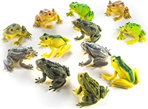 Fun Central 12 Pack - 3 Inch Rubber Realistic Frog Figurines for Kids - Assorted