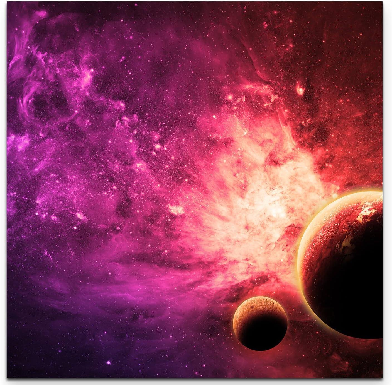Paul Sinus Art Nebel und Galaxien im Weltraum 3 teiliges Wandbild Gesamtgr/ö/ße 130x90cm