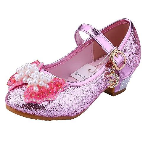 0acb59b8a0b4 Tyidalin Ballerine Chaussures à talon à Déguisement Princesse Nœud Papillon  Paillettes pour Enfant Fille