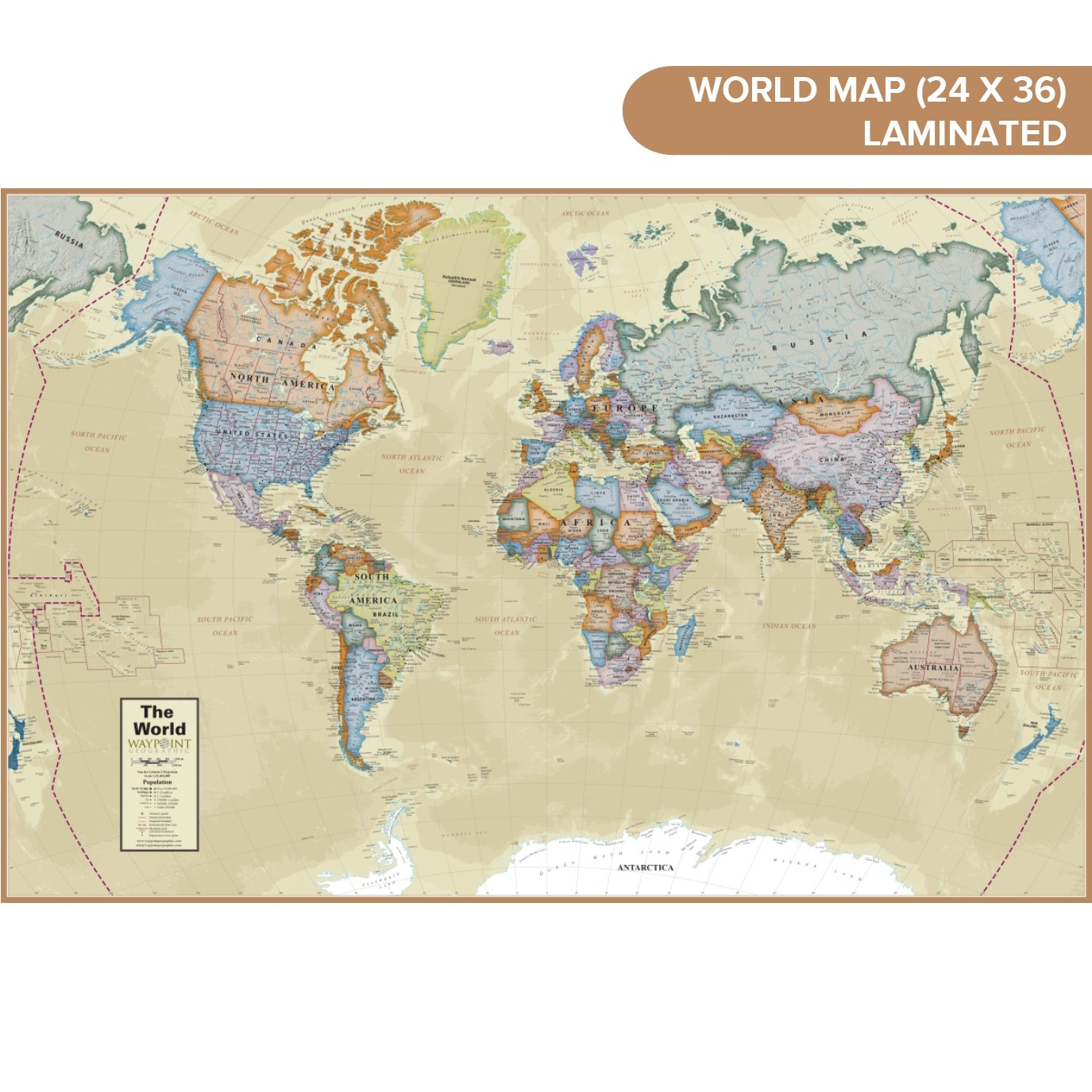 Amazon waypoint geographic classic ocean world wall map 24 x amazon waypoint geographic classic ocean world wall map 24 x 36 current up to date 1000s of named locations points of interest rolled gumiabroncs Gallery