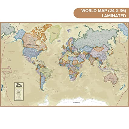 Amazon Com Waypoint Geographic Classic Ocean World Wall Map 24 X