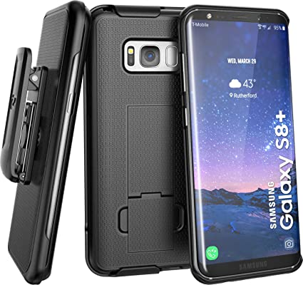 cheaper e473c 2de59 Encased Belt Clip Holster Case for Galaxy S8 Plus - Secure Fit DuraClip  Shell Combo w/Kickstand for Samsung S8+ (Black)