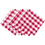 "DII 100% Cotton, Oversized Basic Everyday 20x20"" Napkin Set of 6, Red & White Check"