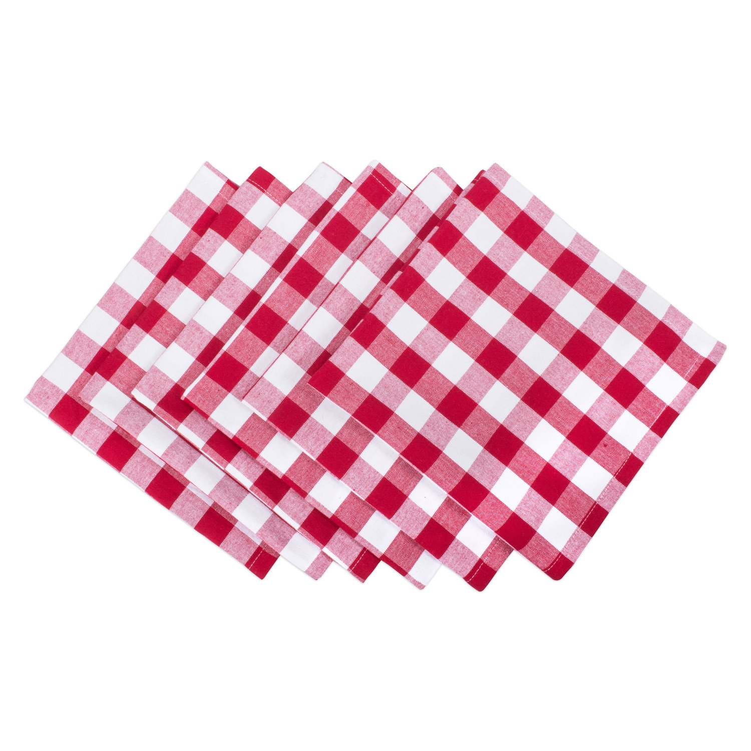 DII 100% Cotton, Oversized Basic Everyday 20x20 Napkin Set of 6, Red & White Check