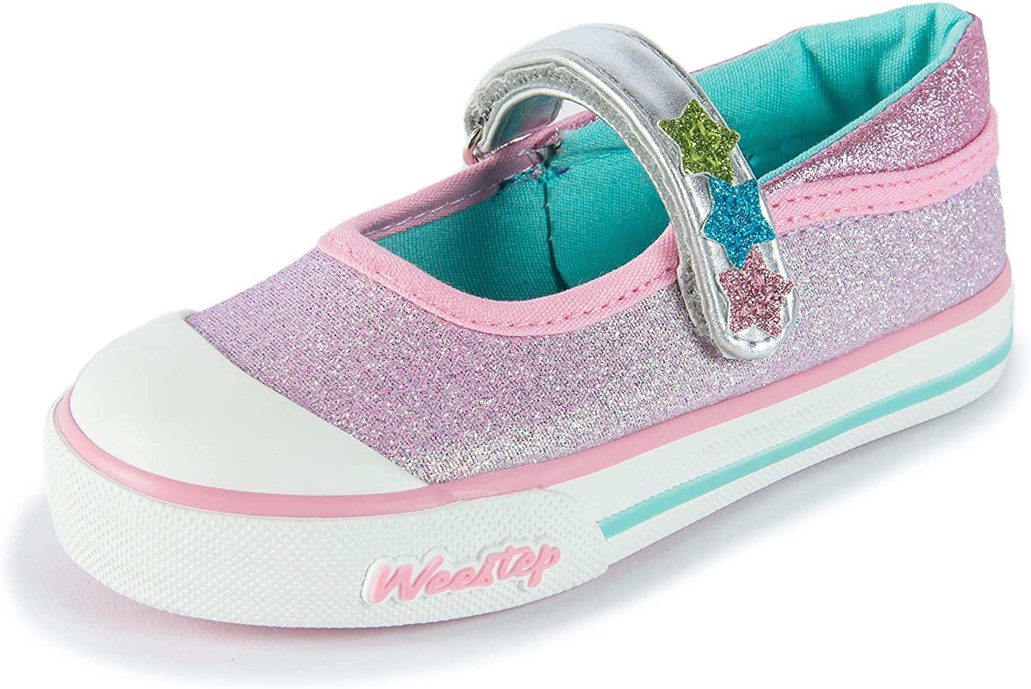 NEW Toddler Girls Tennis Shoes Size 6 Pink Glitter Mary Janes Sneakers Slip On