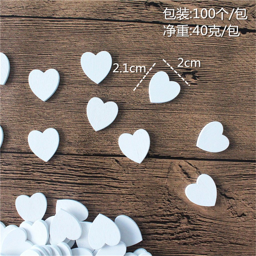 Fityle 100 Pieces Small White Wooden Heart Shapes Crafts Cut Rustic Wood Wedding DIY Love Heart Wedding Table Scatter Decoration Crafts