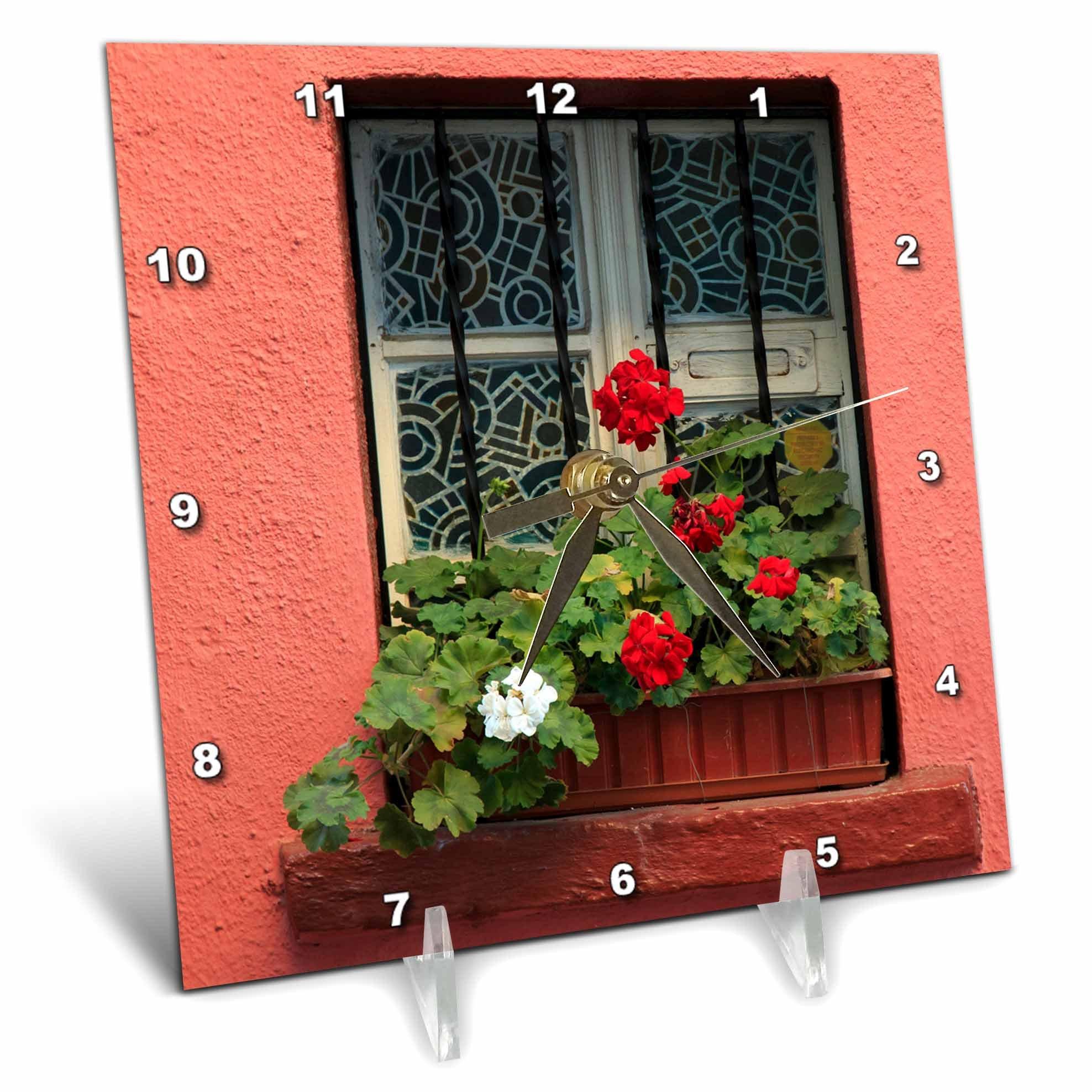 3dRose Danita Delimont - Flowers - Romania, Sighisoara, residential window in old town. Flowers in window - 6x6 Desk Clock (dc_277872_1)