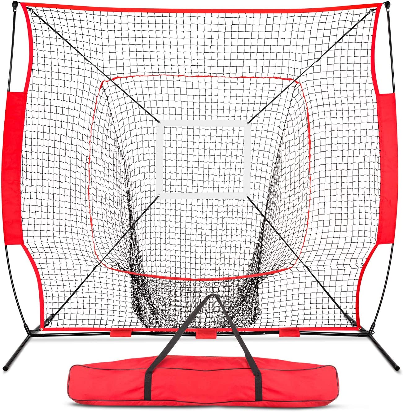 ORIENGEAR 7×7 Portable Baseball Net for Hitting Batting Pitching with Strike Zone Carry Bag
