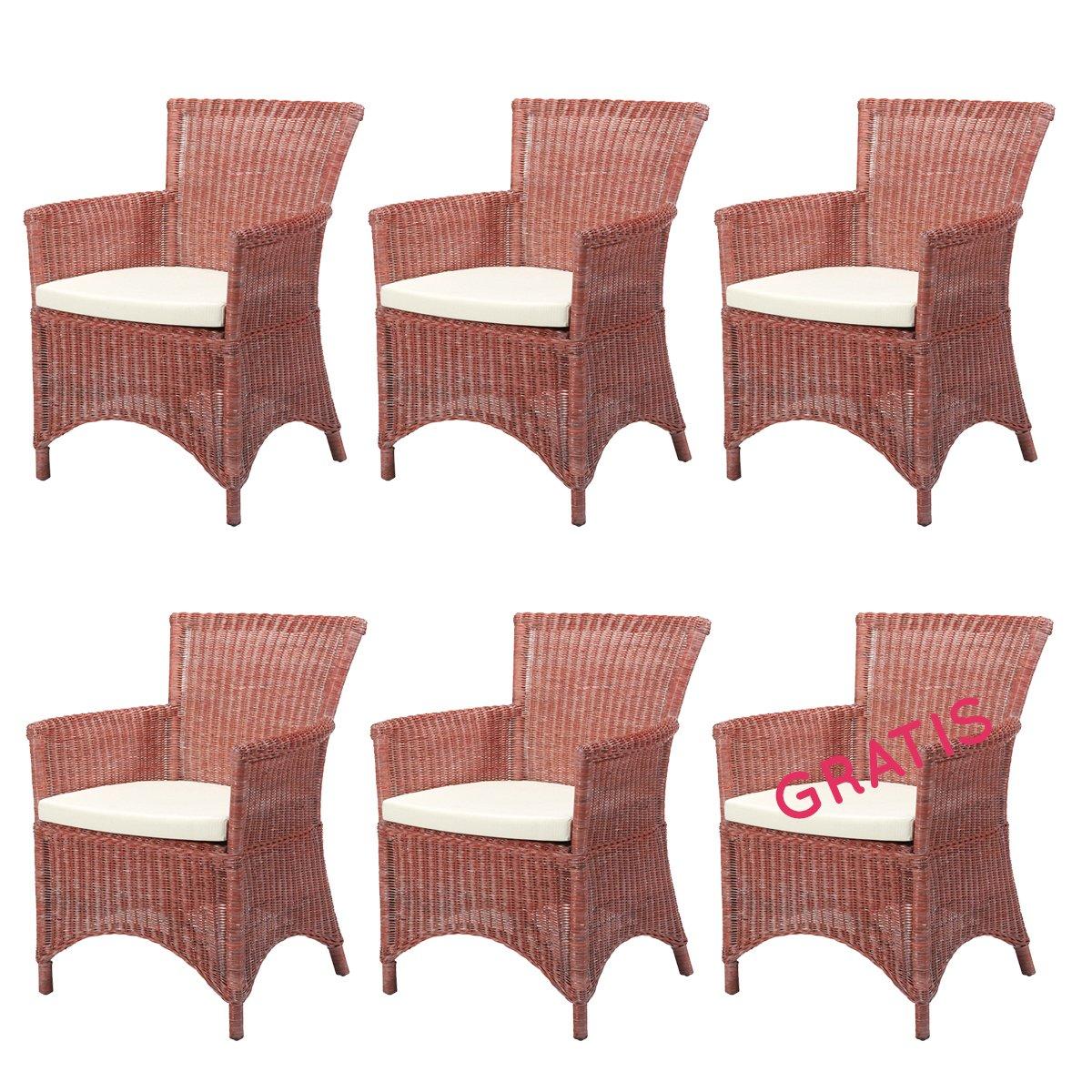 6x Rattan Sessel Rosas Rot Rattan Möbel Set Korbsessel Mit