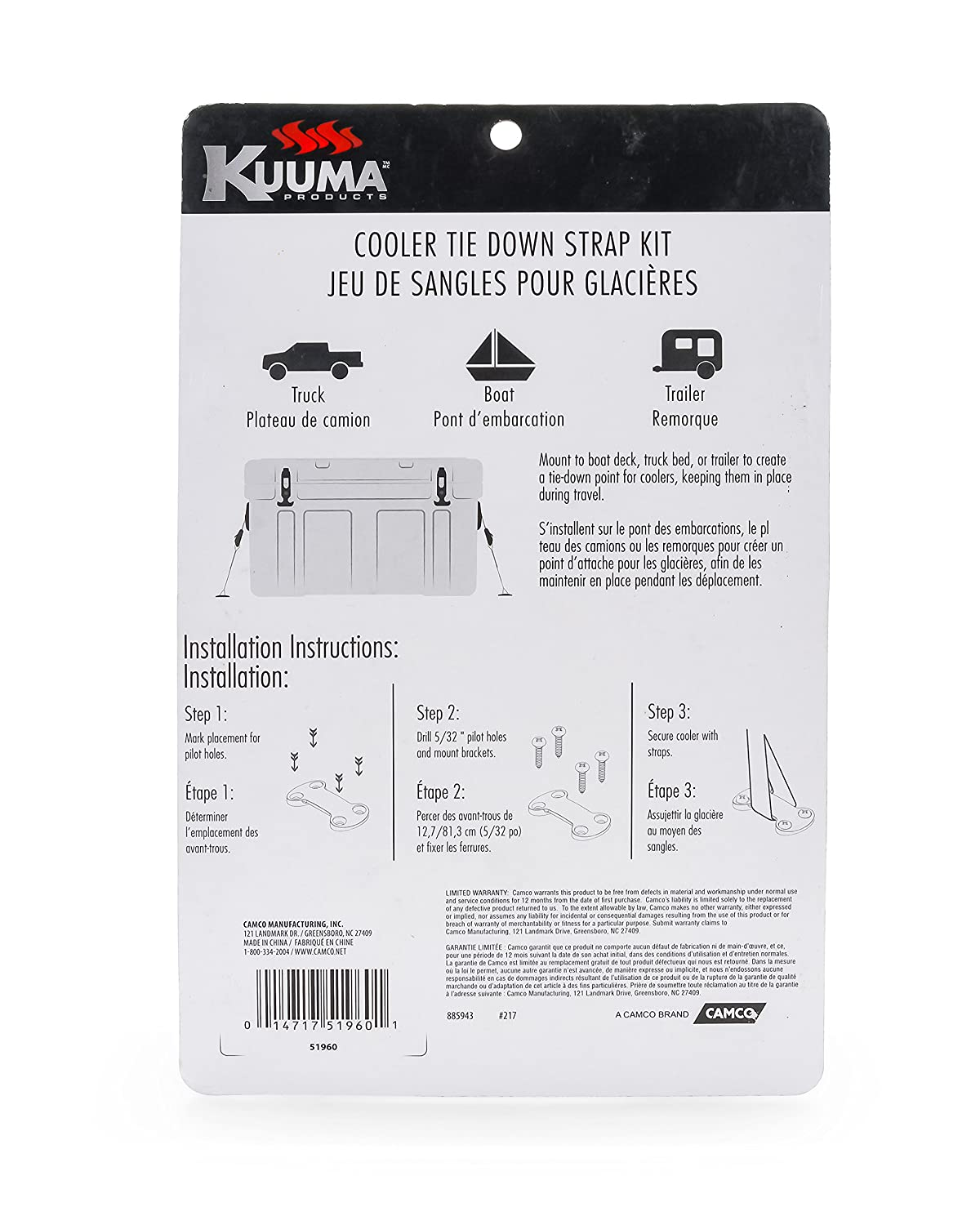 SS Screws-for RVs,Boats,and Truck Beds 2 Pack Kuuma 51960 Cooler Tie Kit Straps, Mounting Brackets 8 2 Inlcudes 2 and