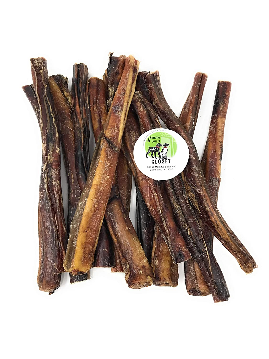 Sancho Lola s 12 Bully Sticks for Dogs Different Sizes Made in USA Boutique Grain-Free High-Protein Beef Pizzle Dog Chews
