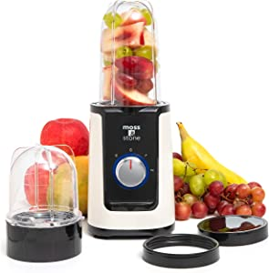 Moss & Stone 2 in 1 Personal Blender with Additional Blender Cups, Smoothie Bullet Blender Maker for Frozen Fruit, Baby Food, Spices (White & Black)