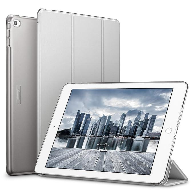 ESR Funda iPad Air 2 Silicona [Auto-Desbloquear] y Función de Soporte [Ligera] de Cuero Sintético y Plástico Duro Transparente Esmerilado Smart Cover ...