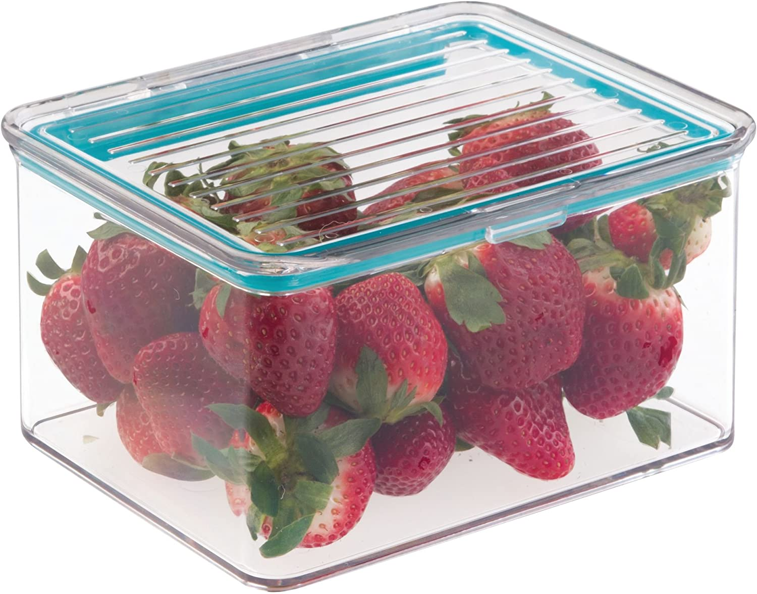 "iDesign Plastic BPA-Free Pantry Food Storage Organizer Bin with Air-Tight Hinged Lid, 1.5 Quart Container for Kitchen, Fridge, Freezer, Cabinet, 5.5"" x 6.6"" x 3.7"" - Clear"