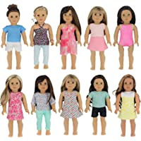 """PZAS Toys 18 Inch Doll Clothes - Wardrobe Makeover, 10 Outfits, Fits 18"""" Doll Clothes"""