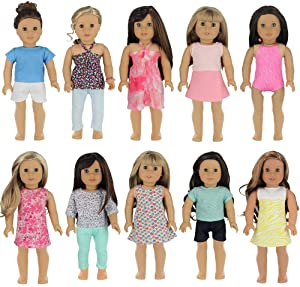 PZAS Toys 18 Inch Doll Clothes - Wardrobe Makeover, 10 Outfits, Fits American Girl Doll