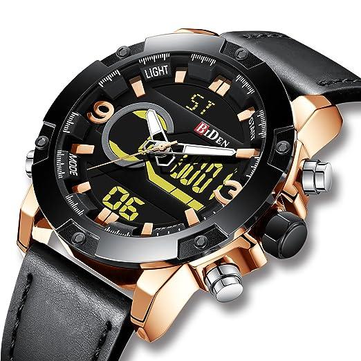 Relojes Hombres Azules Reloj Cronógrafo Impermeable Deportivo para Hombre Reloj Gents de Cuarzo Analógico de Goma